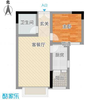 渝复新城丽都45.00㎡B-3户型1室1厅1卫1厨