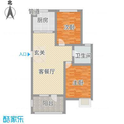 鸿发苑2-2-1-1-4户型2室2厅1卫1厨