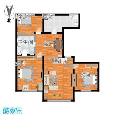 昆仑唐人中心128.00㎡A2户型3室2厅2卫-副本