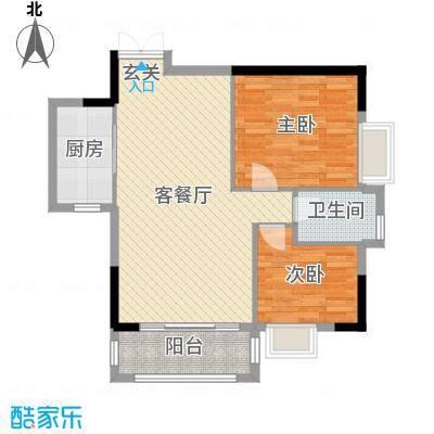 凯旋荟77.06㎡D户型2室2厅1卫1厨