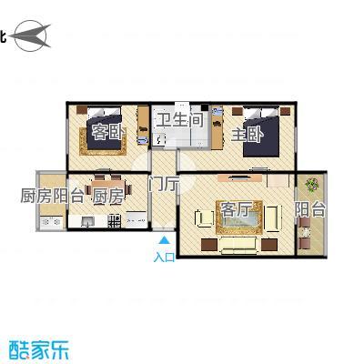 龙兴园中区的两居户型图