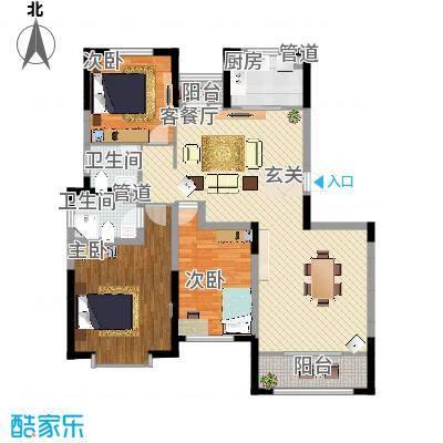 金厦龙第新城135.00㎡1、5、6、7号楼标准层A1户型-副本