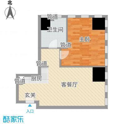 奈伦国际D座E户型1室1厅1卫1厨