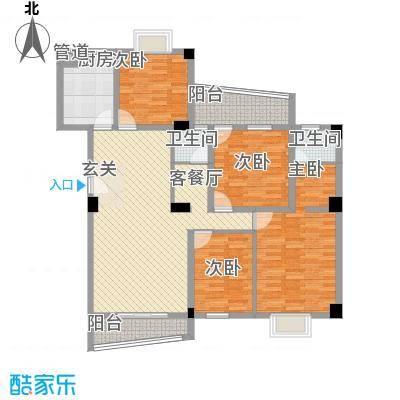 锦华金都135.50㎡C幢楼标准层户型4室2厅2卫1厨
