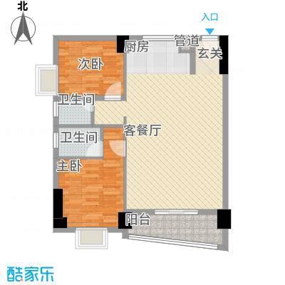 锦华金都1.70㎡E幢楼标准层户型2室2厅2卫1厨