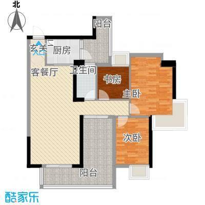 中珠上城18.00㎡7栋户型3室2厅1卫