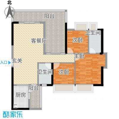 中珠上城121.00㎡7栋户型3室2厅2卫