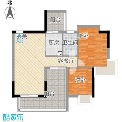 中珠上城87.00㎡6栋户型2室2厅1卫