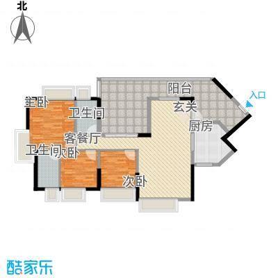 中珠上城124.00㎡1、2栋户型3室2厅2卫