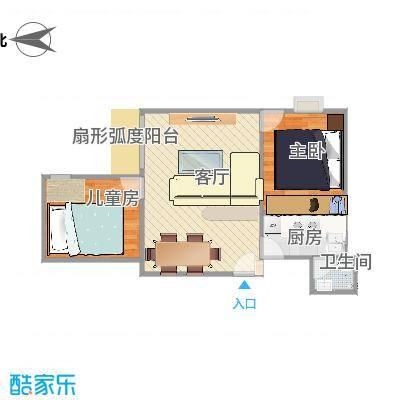 广州_富力天朗明居_二居室N3户型