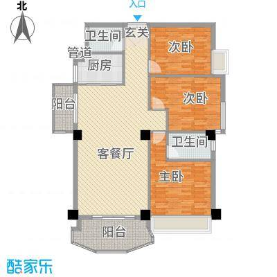 金门海景山庄144.62㎡6#楼02单元户型3室2厅2卫1厨