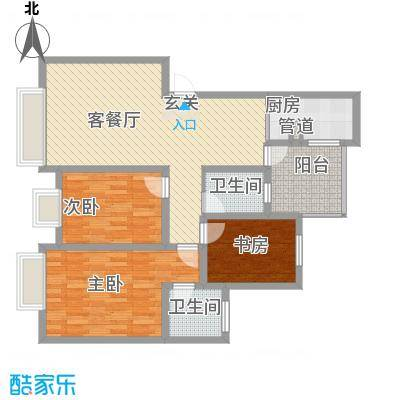 铭星小河印象17.00㎡B-1-1户型3室2厅2卫1厨