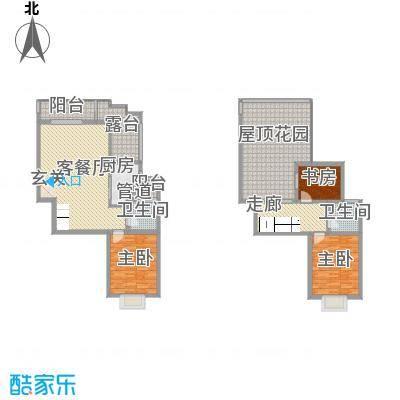 铭星小河印象131.00㎡A-2-11-1跃层户型3室2厅2卫1厨