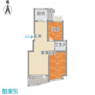 胥江华庭11.74㎡A户型2室2厅1卫1厨