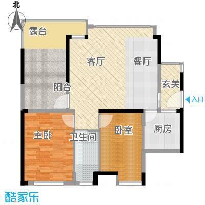 中信观澜凯旋城85.50㎡项目4-6栋标准层B户型3室2厅1卫-副本