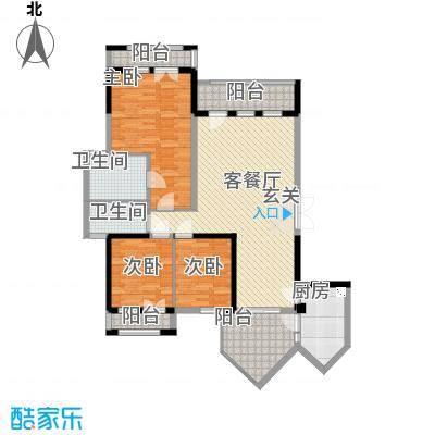 招商依山海二期E2户型3室2厅2卫1厨