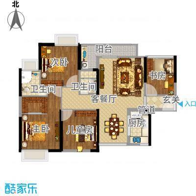 锦龙又一城二期君誉121.66㎡锦龙又一城户型图7、8栋201-2301、204-2304室B户型3