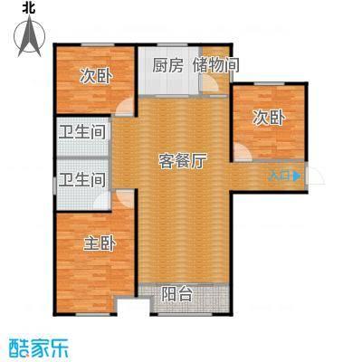 中海外滩133.00㎡B户型3室2厅2卫-副本