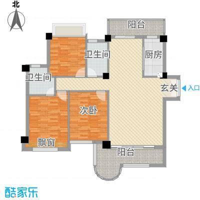 金门海景山庄137.72㎡6#楼01单元户型3室2厅2卫1厨