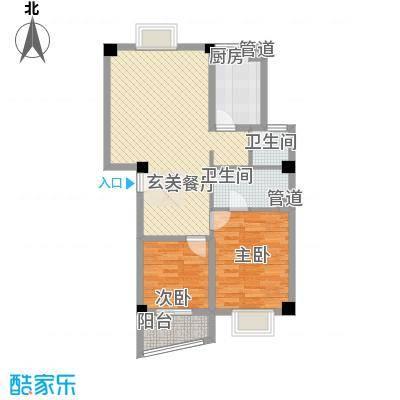 锦华金都83.28㎡A幢楼标准层户型2室2厅2卫1厨
