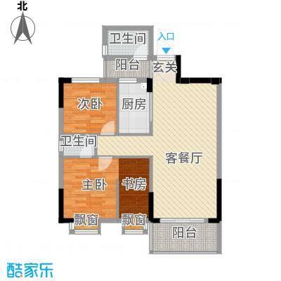 银丰花园88.42㎡36-39座03单元2-16层户型2室2厅