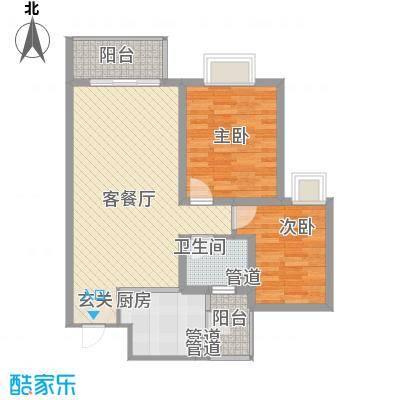 铭星小河印象84.00㎡A-1-2住宅标准层户型2室2厅1卫1厨