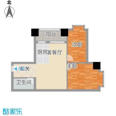 逸彩美寓83.00㎡3栋05单位户型2室2厅1卫1厨