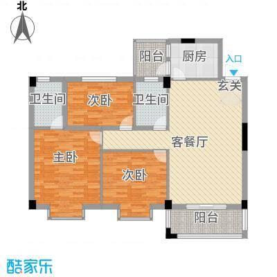 盈峰尚苑122.38㎡5座01户型3室2厅2卫1厨