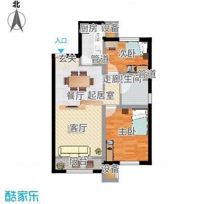 凤河孔雀城87.00㎡高层标准层B2户型-副本