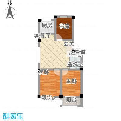 西涝台御鑫园72.00㎡户型3室1厅1卫1厨-副本