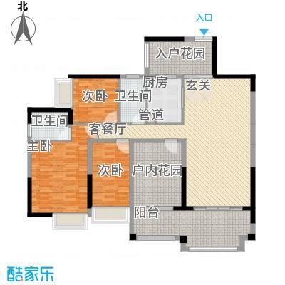 人和春天花园142.23㎡2、3号楼02户型3室2厅2卫1厨
