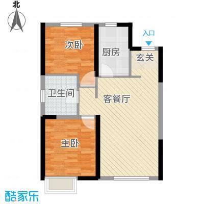 抚顺万科金域国际8.00㎡户型2室2厅1卫