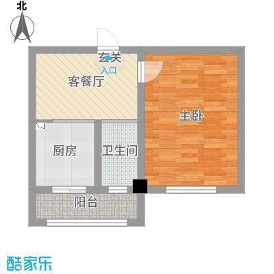 弘福俪景56.00㎡户型1室1厅1卫1厨