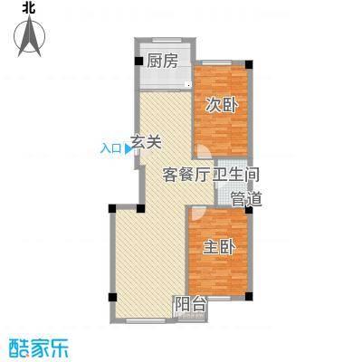 弘福俪景112.77㎡户型2室2厅1卫1厨