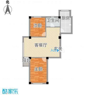 弘福俪景5.83㎡户型2室2厅1卫1厨