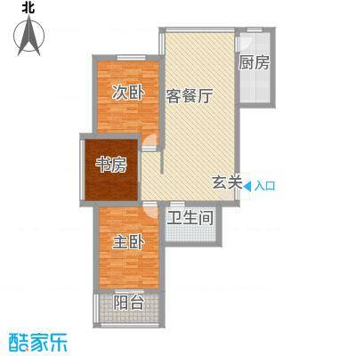 腾运世元114.51㎡23#N1户型3室2厅1卫1厨