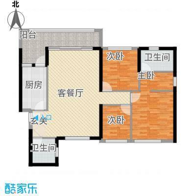 恒大绿洲121.00㎡16号楼05户型3室2厅2卫1厨