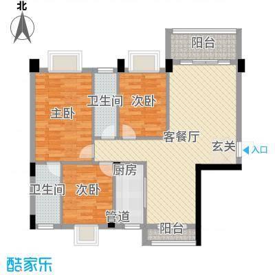 富景花园5.48㎡3栋01户型3室2厅2卫1厨