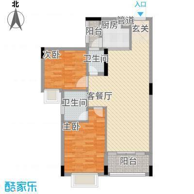 富景花园1.77㎡1栋03/04户型2室2厅2卫1厨