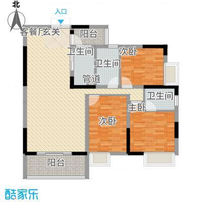 梓山湖领御117.31㎡平面图7-08户型3室2厅2卫1厨
