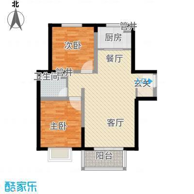 隆兴宜居8.10㎡13#楼C2-1户型2室2厅1卫1厨