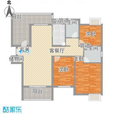 黄山雨润星雨华府12.00㎡K户型3室2厅2卫1厨