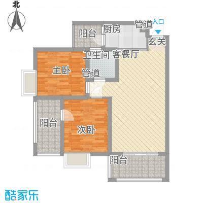 枫�398A区3期8.20㎡J户型2室2厅1卫1厨