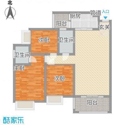 枫�398A区3期115.70㎡k户型3室2厅2卫1厨