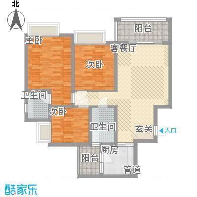 枫�398A区3期16.63㎡F户型3室2厅1卫1厨