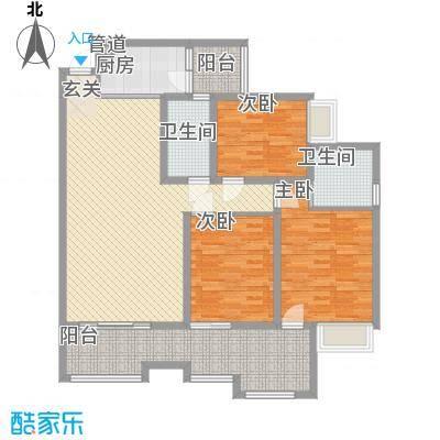 枫�398A区3期123.61㎡E户型3室2厅2卫1厨