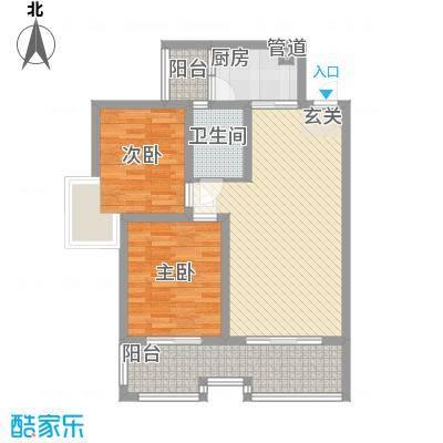 枫�398A区3期85.20㎡C户型2室2厅1卫1厨