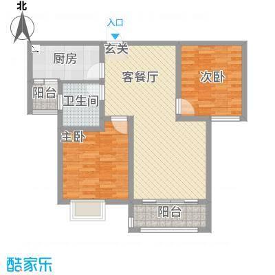东城名邸5.35㎡A3户型2室2厅1卫1厨