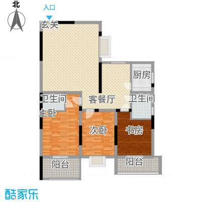 清华园168.40㎡B1户型3室2厅2卫