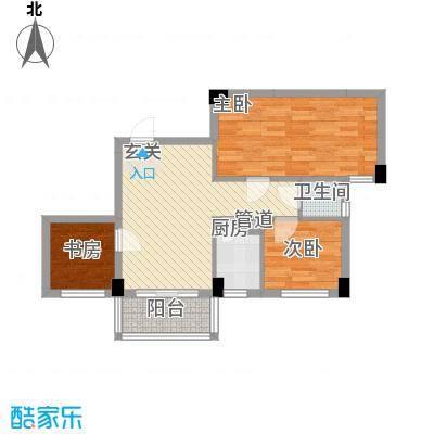 帝景名筑2座03单元户型3室2厅1卫1厨